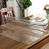 uyoyous 79 x 37 Inch 2mm Clear PVC Table Cover Protector Transparent Tablecloth Pad Plastic Desk Mat Vinyl Waterproof Heat Re