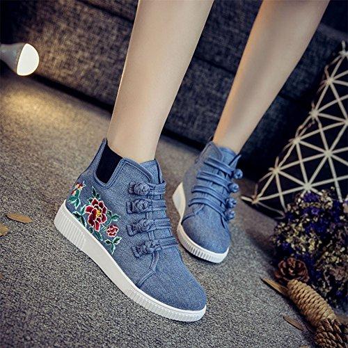 bordado Azul de deporte estilo zapatillas bordado de Chino chino rojo de Zapatos lona Fvwqxdf7