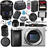 Sony Alpha a6300 Mirrorless Digital Camera (Silver) ILCE-6300/S + Sony Planar T FE 50mm f/1.4 ZA Lens SEL50F14Z + NP-FW50 Replacement Lithium Ion Battery + External Rapid Charger Bundle