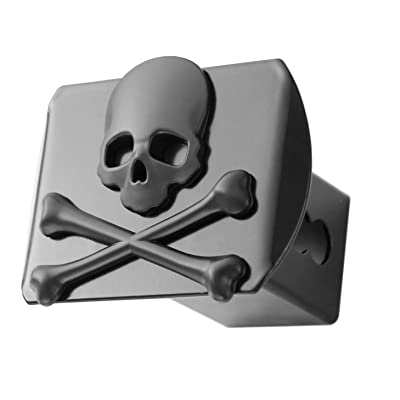 "LFPartS 100% Metal Skull Crossbones 3D Black Emblem Trailer Metal Hitch Cover Fits 2"" Receivers New (Black): Automotive"