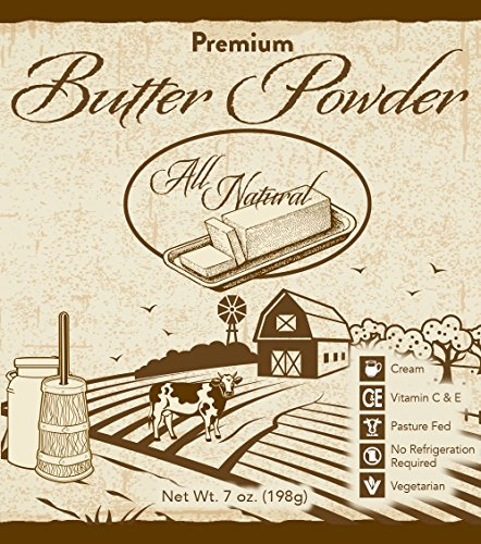 Premium Butter Powder, All Natural, Made From Real Cream, No Refrigeration Needed, Pasture Fed Cows, Vegetarian, 7 Ounce by Oxley Health