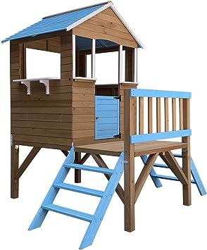 Outdoor Toys Casita Infantil de Madera Blue Melody 3,23 m² de 198x170x197 cm con Porche y Escaleras: Amazon.es: Juguetes y juegos