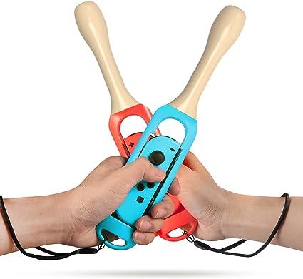 Bastón para Nintendo Switch Joy-Con Controllers, empuñaduras de tambor para Nintendo Taiko Drum Master, paquete de 2 baquetas para Nintendo Motion Sensing Game Taiko sin tatuaje (azul y rojo): Amazon.es: Belleza