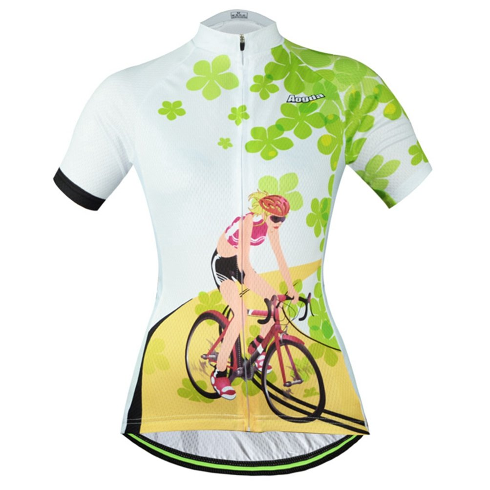 Uriah Women's Cycling Jersey Polyester Short Sleeve Four Leaves Size L by Uriah