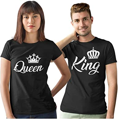 Pack de 2 Camisetas Negras para Parejas King y Queen Corona Blanca ...