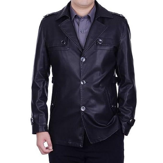 Amazon.com: Hombre Formal decente Premium piel Escudo ...