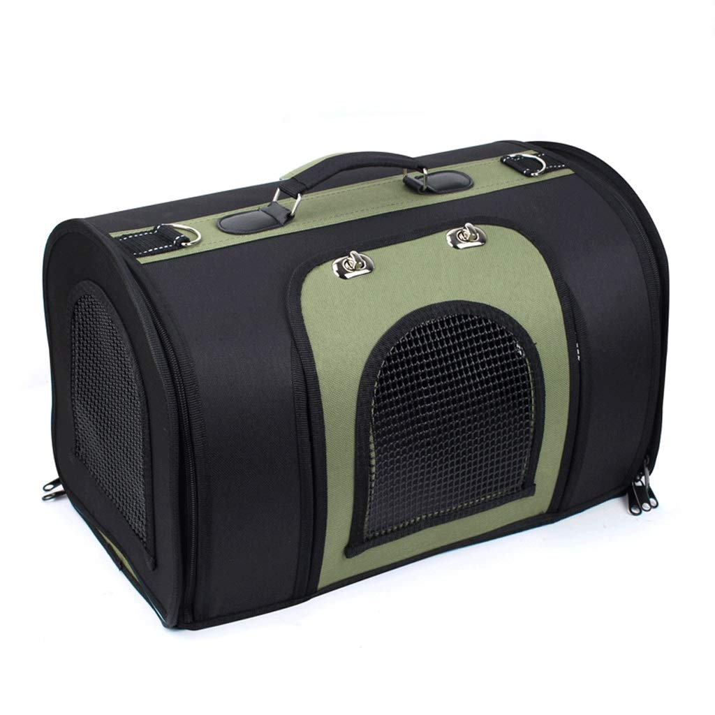 Black+green Medium Black+green Medium HAOCAI Pet Bag Portable Multi-purpose Cat And Dog Universal Folding Handbag Outdoor Travel 3 Face Ventilation Pet Cage (color   Black+green, Size   M)