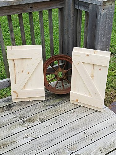 Amazon.com: Pair of Wood Shutters DIY Wall Decor Barn Door Farmhouse ...