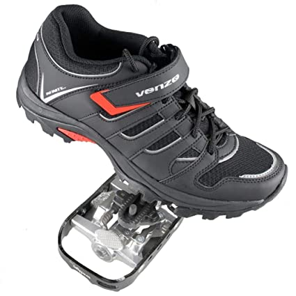 31a05afe4 Venzo Mountain Bike Bicycle Cycling Shimano SPD Shoes + Pedals   Cleats 40