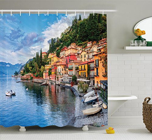 Ambesonne Italian Decor Shower Curtain, Summer Village by Mediterranean Sea with Yacht Boats Idyllic Town Panorama, Fabric Bathroom Decor Set with Hooks, 75 Inches Long, Multicolor