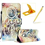 Rope Leather Case for Huawei P8 Lite 2017,Stand Wallet Flip Case for Huawei P8 Lite 2017,Herzzer Bookstyle Stylish 3D Dreamcatcher Feather Pattern Magnetic PU Leather with Soft Silicone Inner Back Case for Huawei P8 Lite 2017