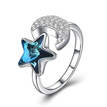 970f8bc30b46 VJUKUBWINE Estrella Luna Plata Cristal Azul Anillo Abierto con Swarovski  Elements Crystal día de San Valentín Regalo para Las Mujeres-Regalo o Boda  ...