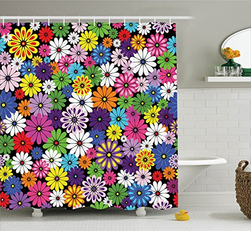 Ambesonne House Decor Shower Curtain Set, Floral Vivid for sale  Delivered anywhere in USA