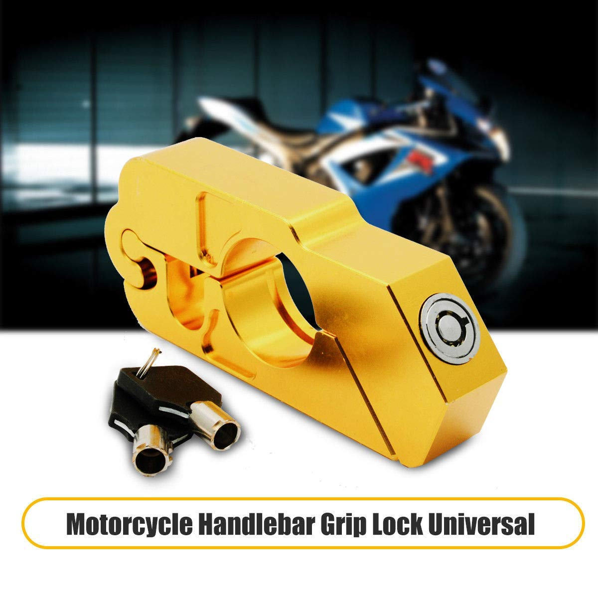 Gold YC Universal Motorcycle Handlebar Lock Motorbike Motorcycle Handlebar Throttle Grip Lock Aluminum Alloy Anti-theft Brake Level Lock for Bike Scooter Moped ATV