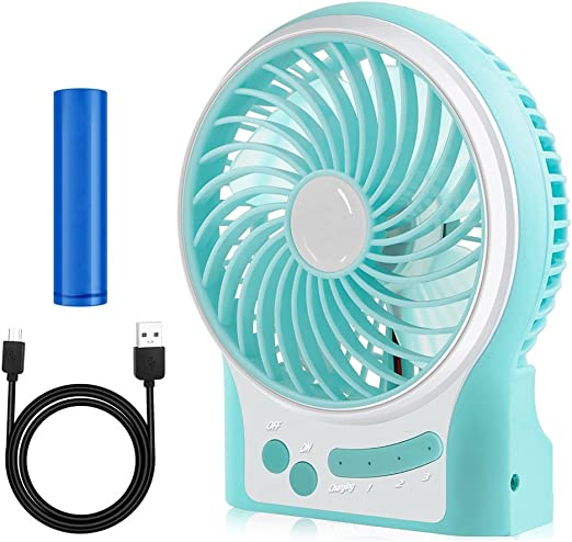 Fishing,Camping,Hiking,Backpacking,BBQ,Baby Stroller,Picnic,Biking,Boating Portable Electric Fan mini USB Rechargeable Battery Office desk mute fan for Traveling Color : Green