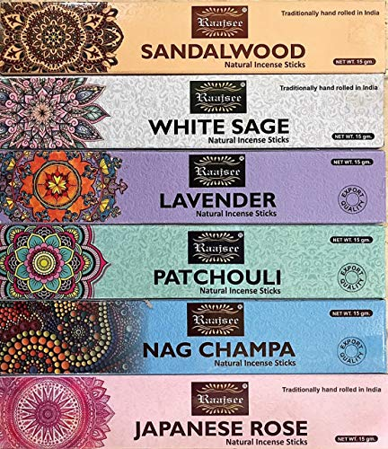 raajsee Incense Sticks 6 Pack Variety Set 15gm Each, Nagchampa-Lavender-Sandalwood-Patchouli-Japanese Rose-White Sage,100% Organic Hand Rolled- Perfect for Church,Aromatherapy,Relaxation Meditation