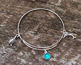 Recycled Vintage Mason Jar Adjustable Wire Sea Life Bracelet