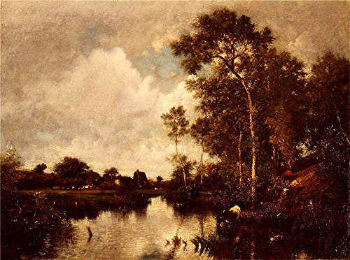'Jules Dupre - The River, 19th Century' Oil Painting, 8x11 Inch / 20x27 Cm ,printed On Perfect Effect Canvas ,this Replica Art DecorativePrints On Canvas Is Perfectly Suitalbe For Kitchen Decoration And Home Gallery Art And Gifts