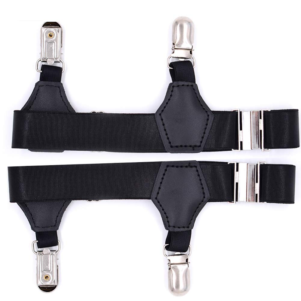 Mens Clothing Accessories Fohee 2 Clips Shirt Stays Suspenders,1Pair Anti-Slip Elasticity Adjustable Straps