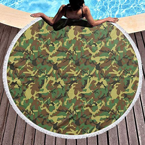 (GULTMEE Round Beach Towel Beach Blanket,Woodland Camouflage Pattern Abstract Concealment Hiding in Jungle,Large Multi-Purpose Towel Beach Mat 59