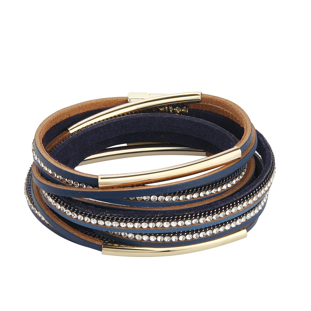 Bfiyi Leather Wrap Bracelet Women Handmade Bangle Cuff Wristband Gold Tube Bracelet with Multilayer Wrap
