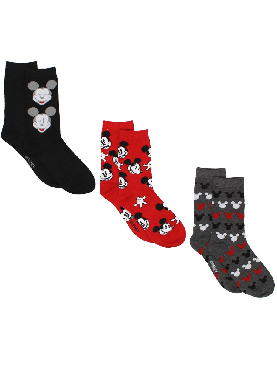 Mickey Mouse Womens 3 pack Crew Socks (9-11 (Shoe: 4-10), Black/Red/Grey)