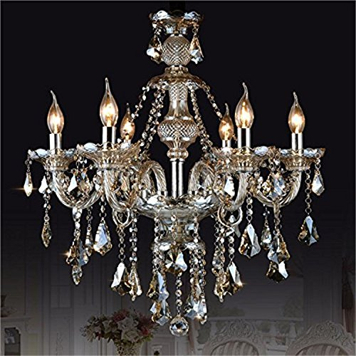 Homelava chandelier cognac color crystal 6 lights contemporary living room bedroom dining room lighting glass ceiling