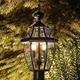 Luxury Colonial Outdoor Post Light, Large Size: 21''H x 11''W, with Tudor Style Elements, Versatile Design, High-End Black Silk Finish and Beveled Glass, UQL1148 by Urban Ambiance
