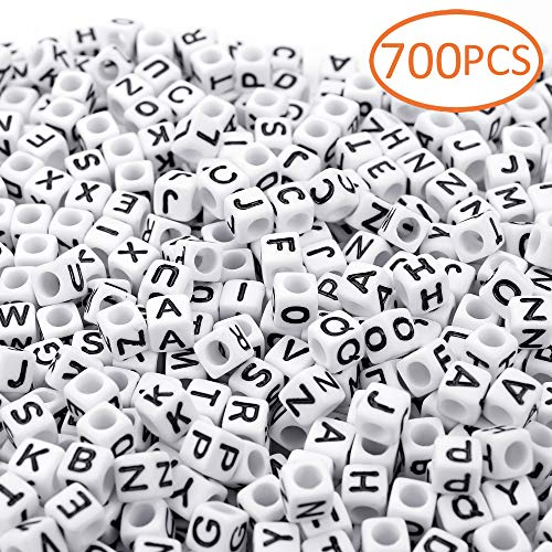 - 700PCS White Letter Cube Beads for Jewelry Making DIY Necklace Bracelet (6mm)