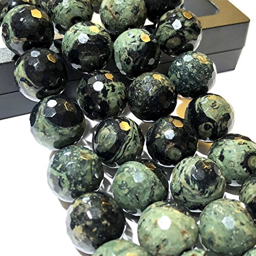 [ABCgems] 2.5mm Large Hole Madagascan Kambaba Jasper AKA Crocodile Jasper (Stromatolite Fossil) 12mm Faceted Round Beads for Beading & Jewelry Making. Approx 8 Inches