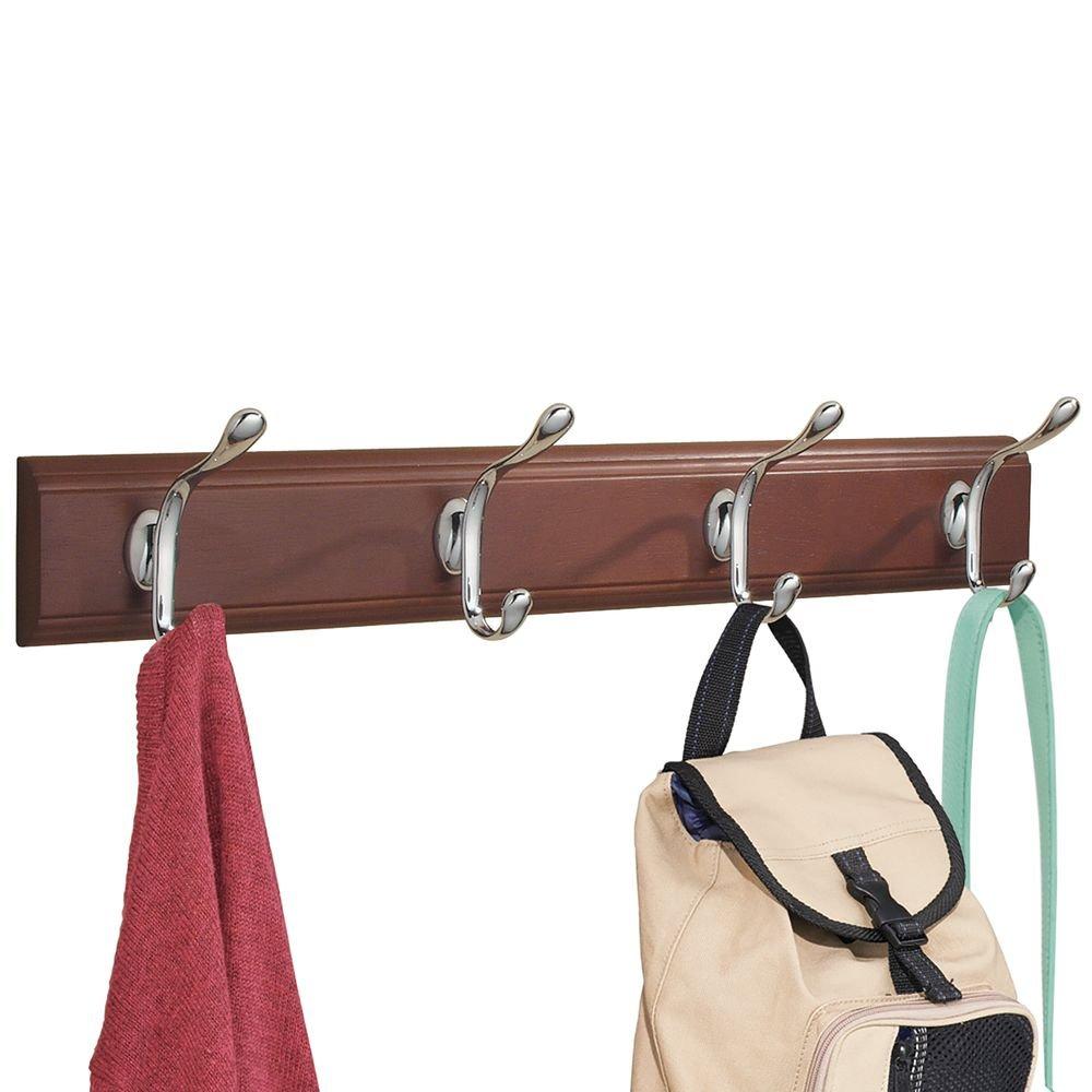 InterDesign Paris Wall Mount Storage Rack – Hanging Hooks for Jackets, Coats, Hats and Scarves - 4 Dual Hooks, Walnut/Chrome