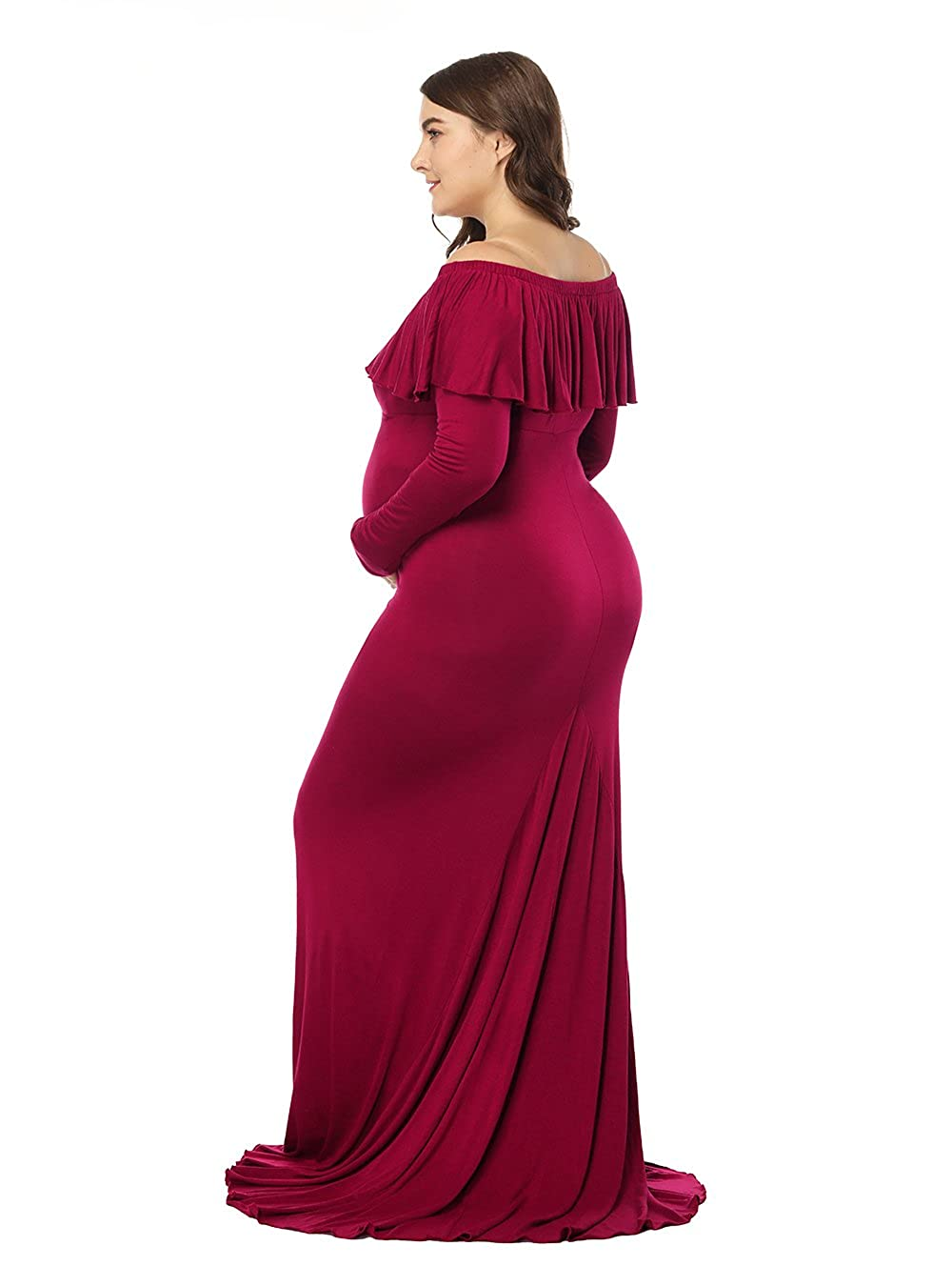5131ee2fb987b JustVH Maternity Elegant Fitted Gown Off Shoulder Ruffles Long Sleeve Maxi  Photography Dress at Amazon Women's Clothing store: