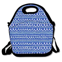 Blue Stripes Funny Lunch Bag Insulated Lunch Tote Bags Bento Cooler Bag