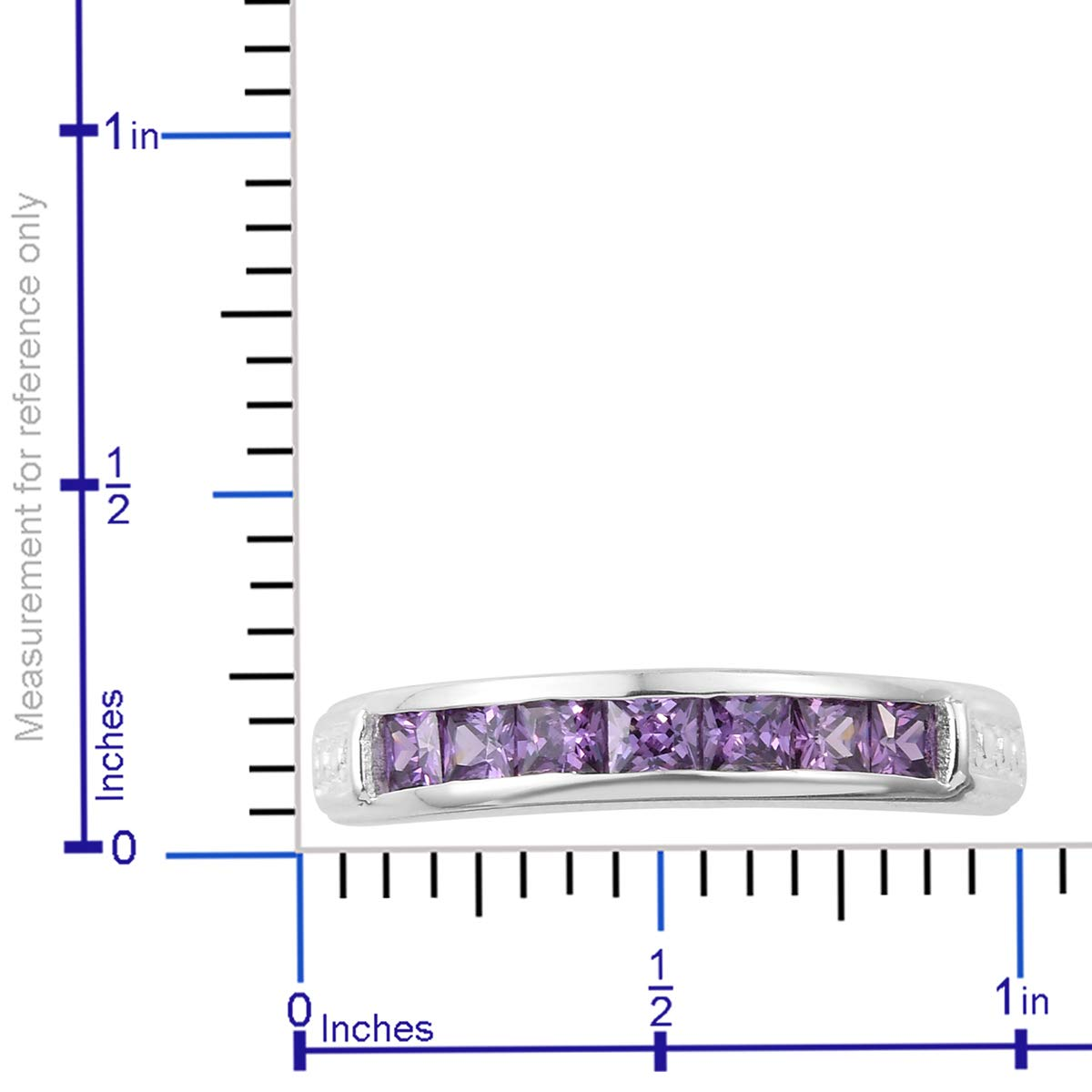 Statement Ring 925 Sterling Silver Square Cubic Zircon CZ Amethyst Jewelry for Women Size 5