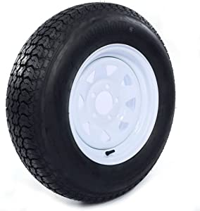 "AutoForever ST205/75D15 Trailer Tires 15 inch Trailer Wheel with Rim 5 Lug 4.5"""