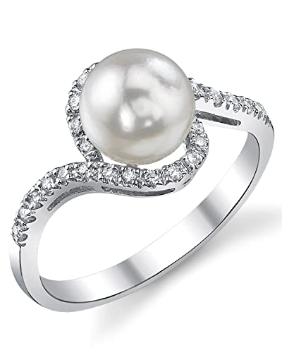7.5-8.0mm Akoya Cultured Pearl & Diamond Cheryl Ring in 14K Gold