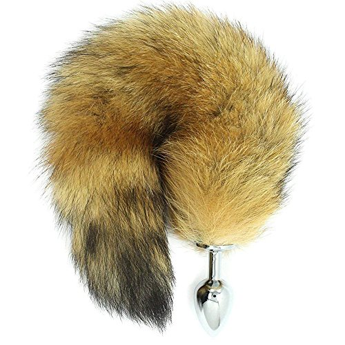 FYFNC Soft Fox Tail with Plug, Women Men Cosplay Costume Accessories for Adult Bachelorette Novelty Party Supplies - 9216 (Yellow) by FYFNC