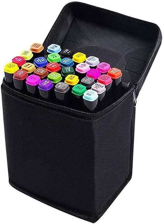 Hbwz - Rotuladores permanentes de 30 Colores con Doble Punta, Estuche de Transporte para niños, para Dibujar, Dibujar, Dibujar, Colorear, Resaltar y subrayar, para Adultos: Amazon.es: Hogar