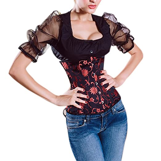 26e00f7ca9 Muka Women Black Underbust Corset Waist Cincher Bustier Halloween Costume M