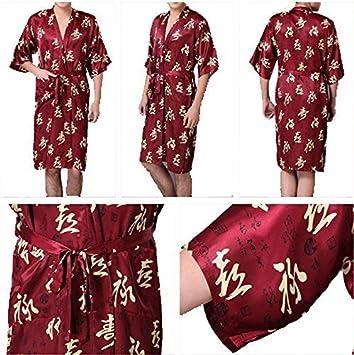 Osaka Borgoña para hombre bata de noche Wear Kimono Japonés Para Hombre Noche tradicional macho pijamas