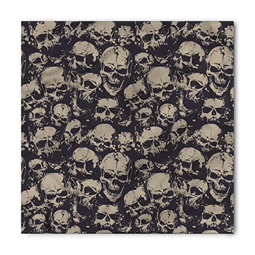 Ambesonne Unisex Bandana, Skull Grunge Scary Evil, Charcoal Grey -