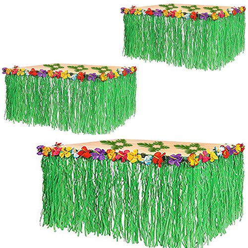 Adorox (3 Table Skirt) Hawaiian Luau Hibiscus Green Table Skirt 9 Ft Party Decorations by Adorox