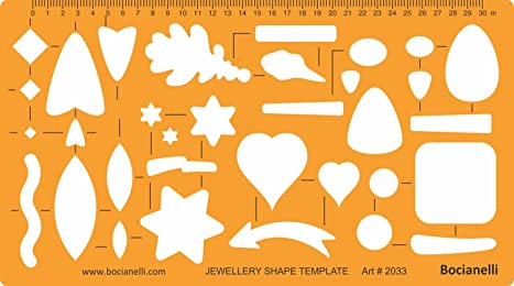 Jewellery Jewelry Art Craft Design Drawing Drafting Template Stencil - Leaves Arrows Stars Squares Hearts