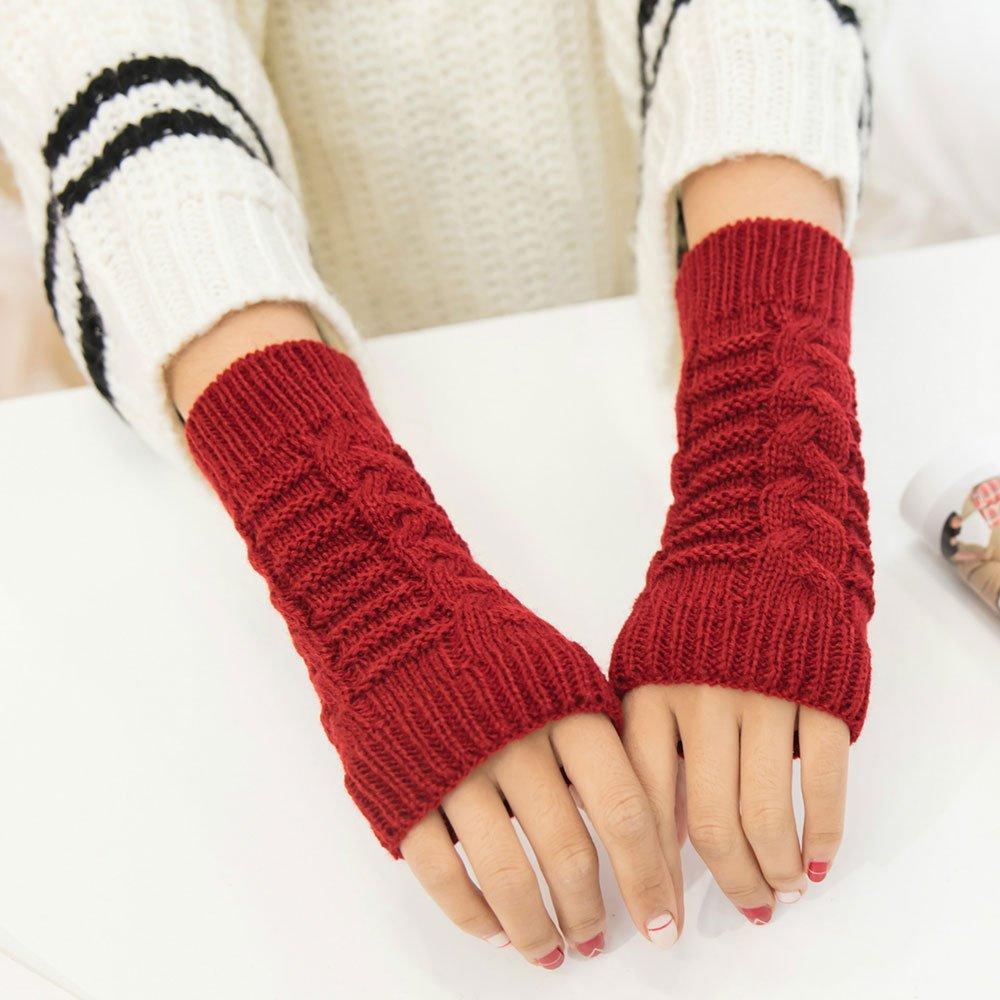 Pinzhi Femmes Mens Knit Crochet Long Mitaines Gants Hiver Arm Warmer Mitten Mode Arm Warmer Mitten Mode Arm Warmer Mitten Mode Rouge