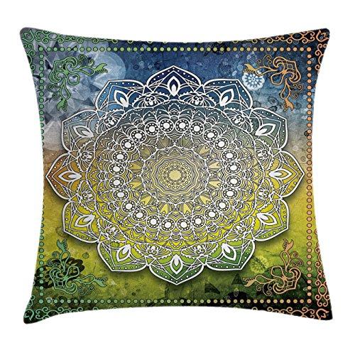 hrow Pillow Cushion Cover, Mystic Asian Mandala Zen Culture Chakra Karma Calmness and Harmony Icon Boho Design, Decorative Square Accent Pillow Case, 24 X 24 Inches, Multicolor ()