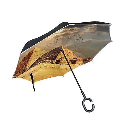 Amazon.com: Egipcio Esfinge y pirámide paraguas invertido de ...