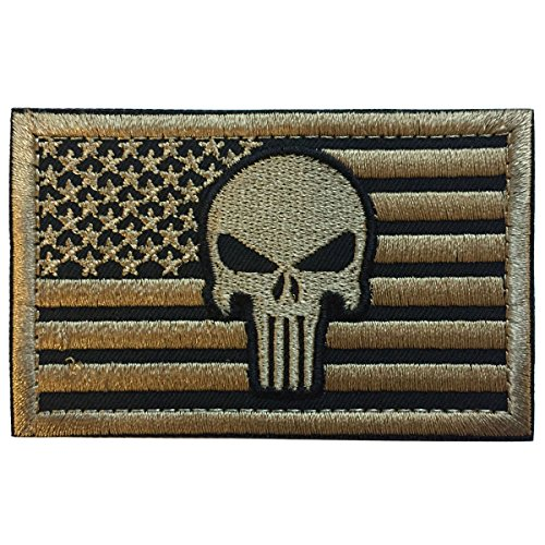 "SpaceAuto USA American Flag Skull Military Tactical Morale Badge Patch 3.15"" x 1.97"" - Tan"