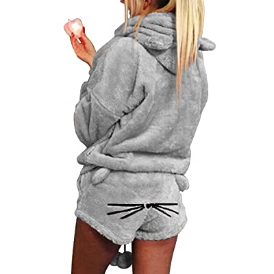 2 unids Mujeres Gato Pijamas Cute Girls Meow Sleepwear Suave Albornoz Shorts Winter Lounge Sleepwear Sets: Ropa y accesorios