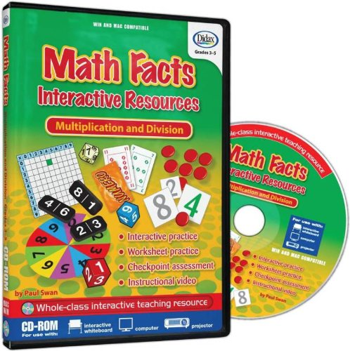 Didax Math Facts Interactive Resources Multiplication and Division Software CD for Interactive Whiteboards