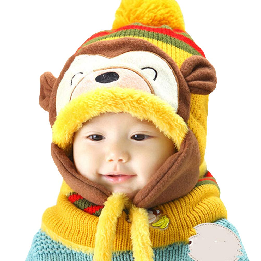 LSERVER Toddler Kids Winter Clever Monkey Warm Cap Scarf Girl Boy Hat Child Knitted Soft Protect Set